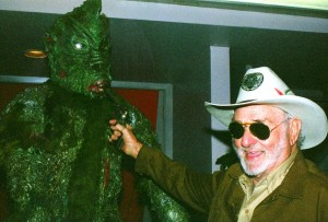 Blood Waters 0f Dr Z aka Zaat 1982 photo candid Paul Galloway as Sheriff Lou Krantz with creature (d09-11-2015, age92)